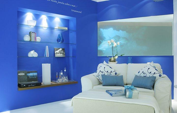 Casas Pintadas De Azul Turquesa Lindo Abstrato Pintado A Mo Em Azul - Paredes-pintadas-de-azul