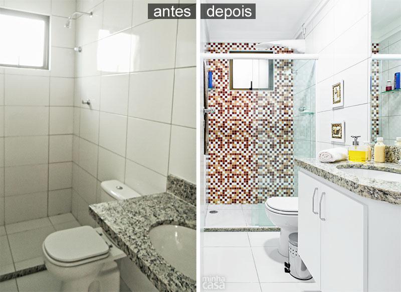 Banheiros  Banheiro decorado com adesivos fica pronto em 24 horas  Blog  I -> Banheiro Decorado Com Pastilhas Marrom