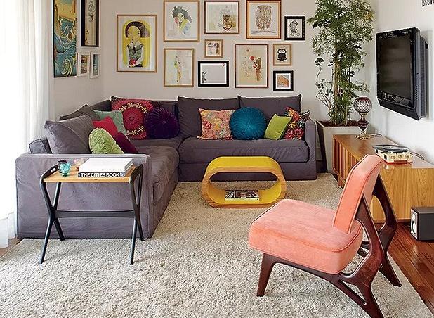 decoracao de interiores mogi das cruzes: sofá em L aproveita integralmente o espaço da sala de estar
