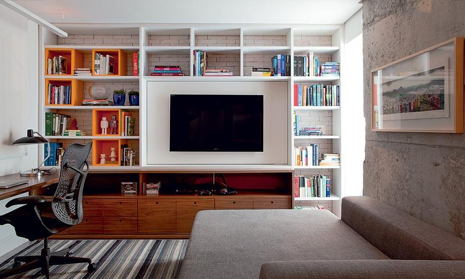 Blog Sala De Tv Terra ~  de trabalho O espaço une sala de TV, escritório e pode receber