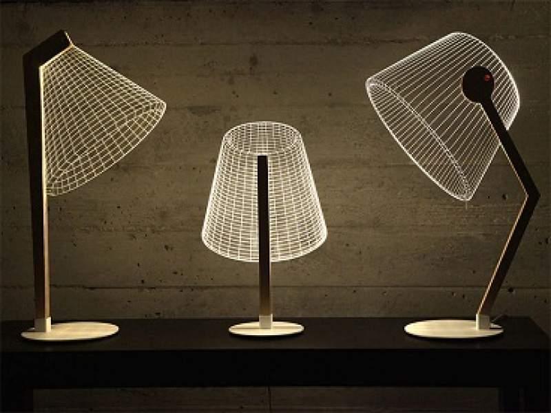 iluminação ilusão de ótica em uma moderna luminária 3d