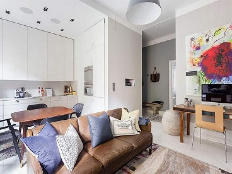 decoração apartamento de 48m² com uma decoração masculina linda